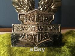 Vtg Harley Gold Tone Bar Shield V-Twin Eagle Wings Insert Medallion Sissy Bar