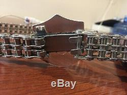 Vtg & Rare Harley Davidson Chrome Primary Chain Belt Biker sz 40 Bar & Shield