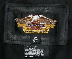 Vtg womens harley davidson leather vest XL black Basic Skins snap bar shield nwt