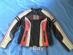 Women's Harley Davidson RIDGEWAY Pink Bar & Shield HD Logo Leather Jacket Sz M