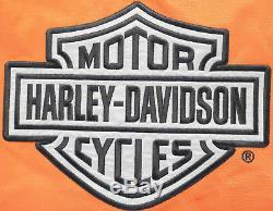 Womens harley davidson jacket L cotton nylon orange zip up reflective bar shield