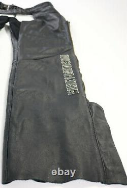 Womens harley davidson leather chaps XL black Deluxe lined bar shield soft zip