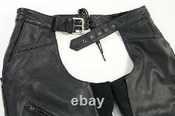 Womens harley davidson leather chaps XS black Deluxe 98097-06VW lined bar shield