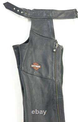 Womens harley davidson leather chaps XS black stock 98090-06VW bar shield snaps