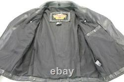 Womens harley davidson leather jacket L basic skins black double zip bar shield