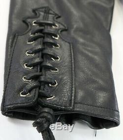 Womens harley davidson leather jacket L black 97015-04VW zip bar shield lace up