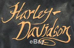Womens harley davidson leather jacket L black orange 97022-10VW zip bar shield