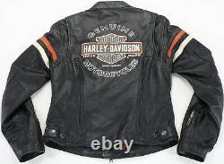 Womens harley davidson leather jacket M Miss Enthusiast black orange bar shield