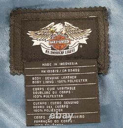 Womens harley davidson leather jacket XL black blue bar shield embroidered zip