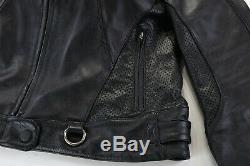 Womens harley davidson leather jacket XL black perforated reflective bar shield