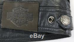 Womens harley davidson leather jacket vest L black zip up sleeveless bar shield