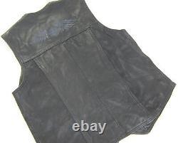 Womens harley davidson leather vest shirt jacket L black bar shield snap up USA