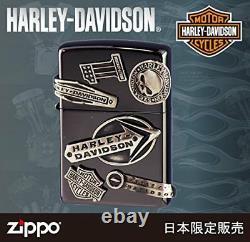Zippo Harley Davidson Japan Limited Black Nickel Skull Bar Shield Metal HDP-62