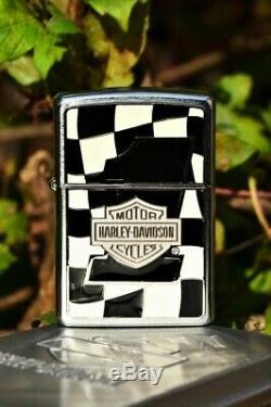 Zippo Lighter Harley Davidson Checkered Flag European AMF #1 Bar Shield