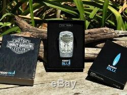 Zippo Lighter Harley Davidson Made in USA BLU Bar and Shield Butane Rare