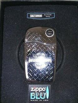 Zippo Lighter ULTRA RARE Harley Davidson BLU Bar Shield Diamond Plate -NIB