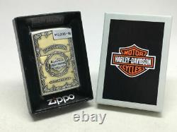 Zippo Oil Lighter Harley Davidson S Metal Bar Shield HDP-67 Gold Brass Japan