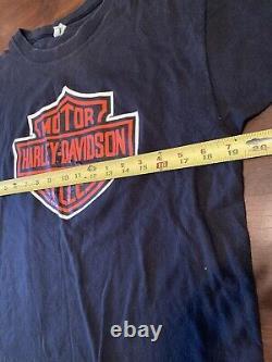 70s Harley Davidson Classic Shield Logo T-shirt Sz L Champion Blue Bar Tag