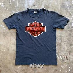 70s Harley Davidson Classic Shield Logo T-shirt Sz Xs Champion Blue Bar Tag