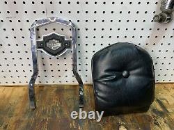 82-03 Harley Fxr Bar & Shield Backrest Sportster Dyna Sissy Utilisé Rare Authentique