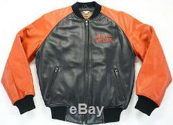 Blouson En Cuir Harley Davidson S M Bouclier Bar Noir Orange Taille Extensible