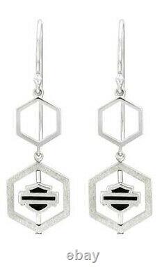 Boucles D'oreilles Harley-davidson Pour Femmes Hexagon Spinner Bar & Shield Drop Hde0510