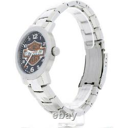 Bulova Harley-davidson Mens Bar & Shield Bracelet En Acier Inoxydable Montre 76a019