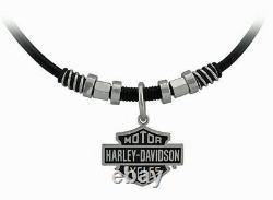 Collier Et Charme En Cuir Harley-davidson Pour Hommes Nut & Coil Bar & Shield Hsn0071