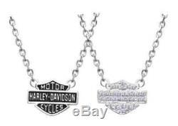 Collier Harley-davidson Pour Femmes, Breloque Avec Logo Bling Bar Et Bouclier, Argent Hdn0148