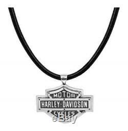 Collier Harley-davidson Pour Hommes, Logo Rivets Avec Barre Et Bouclier, Cordon En Cuir Hdn0318