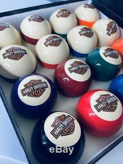 Couleur Rare Harley Davidson Bar & Shield Logo Flames Billard Pool Balls Set Cue