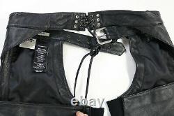 Femmes Harley Davidson Chaps En Cuir M Noir Deluxe 98097-06vw Bouclier De Barre Doublé