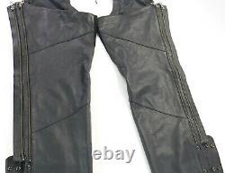 Femmes Harley Davidson Chaps En Cuir XL Noir Deluxe Doublé Bouclier De Barre Zip Doux