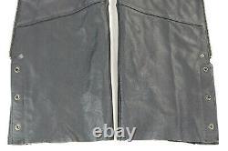 Femmes Harley Davidson Chaps En Cuir Xs Noir Stock 98090-06vw Barre Shield Snaps