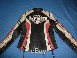 Femmes Harley Davidson Ridgeway Rose Bar & Shield Hd Logo Veste En Cuir Sz M