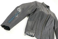 Femmes Harley Davidson Veste En Cuir M Noir Bar Bleu Bouclier Brodé Zip