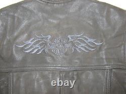 Femmes Harley Davidson Veste En Cuir Veste Chemise L Bouclier Barre Noire Snap Up USA