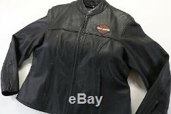 Femmes Veste En Cuir Harley Davidson 1w Stock 98112-06vw Bouclier Barre Noire Zip