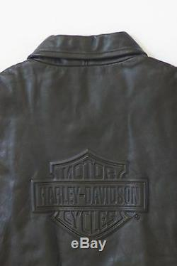 Gaufrée Bar Harley Davidson Men & Shield Vintage Classique En Cuir Noir Veste L
