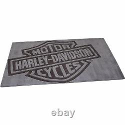 Grand Tapis De Zone Fait Main Harley-davidson Bar & Shield, Gris 8ft. L X 5ft. W