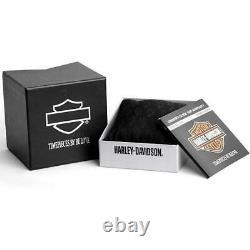 Harley Davidson 78a121 Men's Bar & Shield Flame Black Steel Watch Rrp £299.00