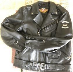 Harley Davidson 90s Veste Moto En Cuir Gaufrés Aigle Bar & Shield Hommes L