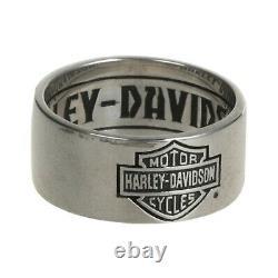 Harley Davidson Bague Pour Hommes Classic Bar & Shield Logo Band Silver Size 10 Hdr0264