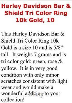 Harley Davidson - Bague Tricolore À Trois Anneaux En Or 10k / 10 Très Peu Portée