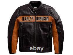 Harley Davidson Bar Et Bouclier Classique Veste En Cuir Lourd Grande Peau De Vache