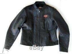 Harley Davidson Bar Men Black Shield Jacket Moto En Cuir XL Zip Manchettes