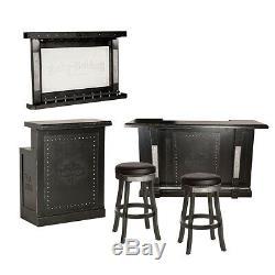Harley Davidson Bar & Shield Bar Flames, Retour Bar, Retour Et Tabourets-noir
