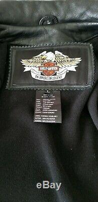 Harley Davidson Bar & Shield Brodé Hommes Veste En Cuir Orange Large