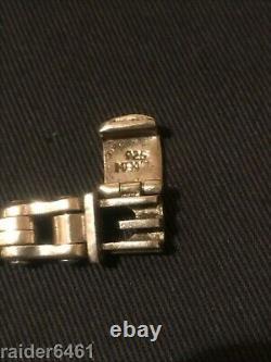 Harley Davidson Bar & Shield En Argent Sterling Chain Link Bracelet Biker 48 Gr Euc