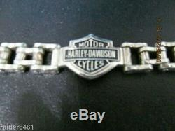 Harley Davidson Bar & Shield En Argent Sterling Chain Link Bracelet Biker 59 Gr Euc